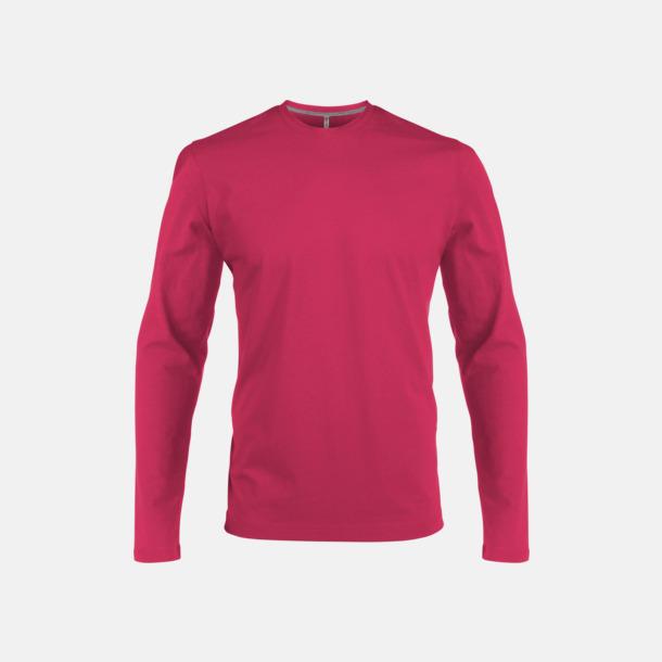 Fuchsia (crewneck, herr) Långärmad t-tröja med rundhals för herr och dam med reklamtryck