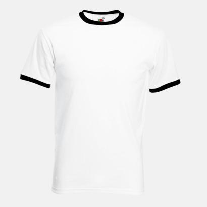Vit/Svart T-shirt med kontrasterande färger - med reklamtryck