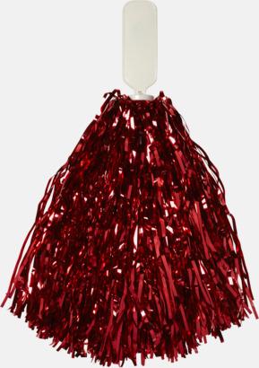 Röd Små, glittriga pom-poms med reklamtryck