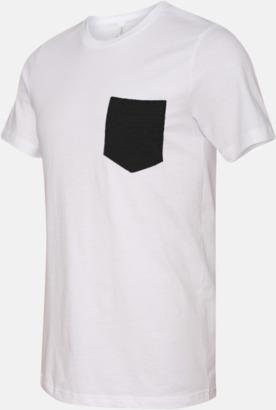 Vit/Svart Herr t-shirts med bröstficka i kontrasterande färg - med reklamtryck