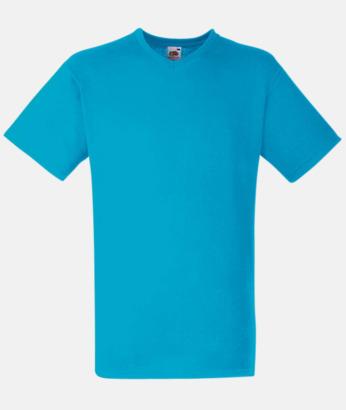 Azure Blue V-ringad t-shirt med reklamtryck