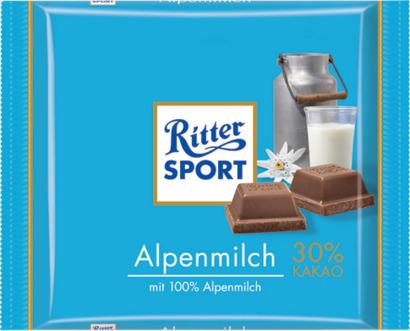 Alpin mjölkchoklad 100 gram-Ritter Sport choklad med reklamtryck