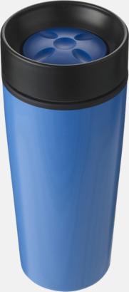 Blå Ståltermosar med trycklock - med reklamtryck
