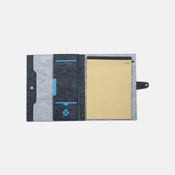 Grå/Ljusgrå/Blå Filtmappar med ekologiskt anteckningsblock - med reklamtryck