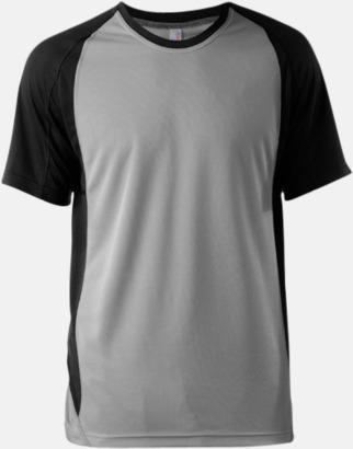 Fine Grey (solid)/Svart Tvåfärgade funktionströjor för män - med reklamtryck