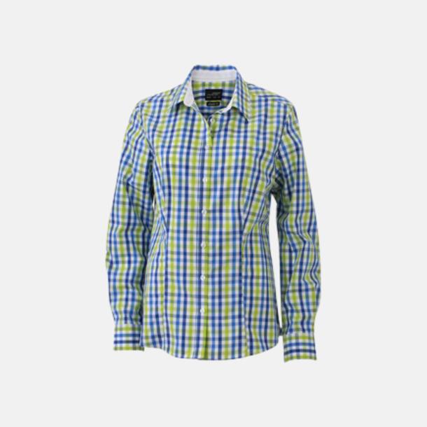 Royal/Blå-Grön/Vit (dam) Rutiga bomullsskjortor & -blusar med reklamtryck