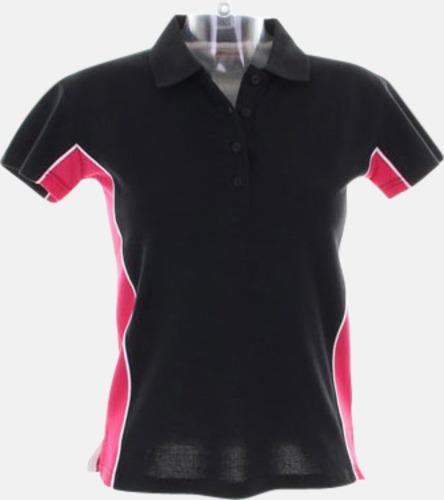 Svart/Raspberry/Vit Sportiga pikétröjor med reklamtryck eller -brodyr