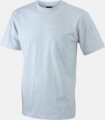 Ash T-shirts med bröstficka i matchande färg - med reklamtryck