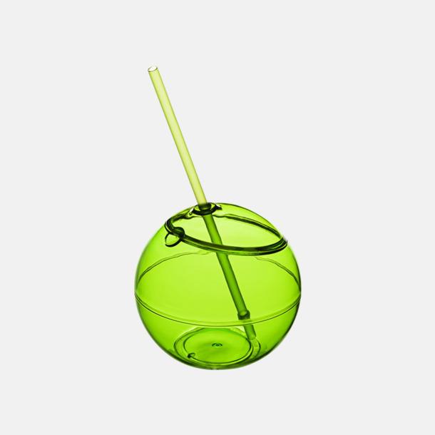 Limegrön Klotformad mugg med sugrör - med tryck