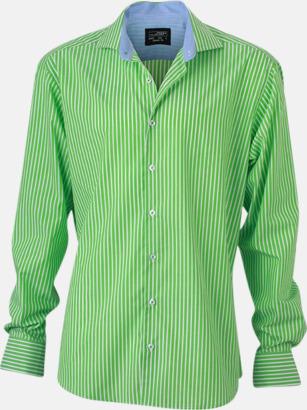 Grön-Vit/Blå (herr) Blusar & skjortor i randigt mönster med reklamtryck