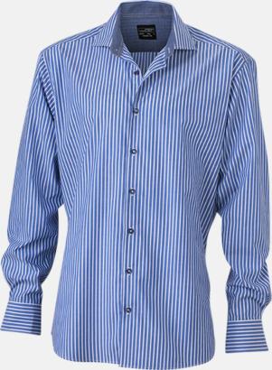 Blå-Vit/Marinblå (herr) Blusar & skjortor i randigt mönster med reklamtryck