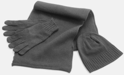 Grå Set med mössa, vantar och halsduk med reklambrodyr