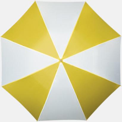 Gul / Vit Golfparaplyer med ergonomiska trähandtag