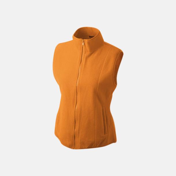 Orange Figursydd fleeceväst med egen brodyr