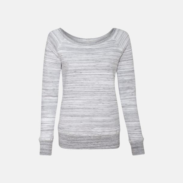 Marble Fleece Light Grey (heather) Spräckliga damtröjor med vid halsöppning - med reklamtryck