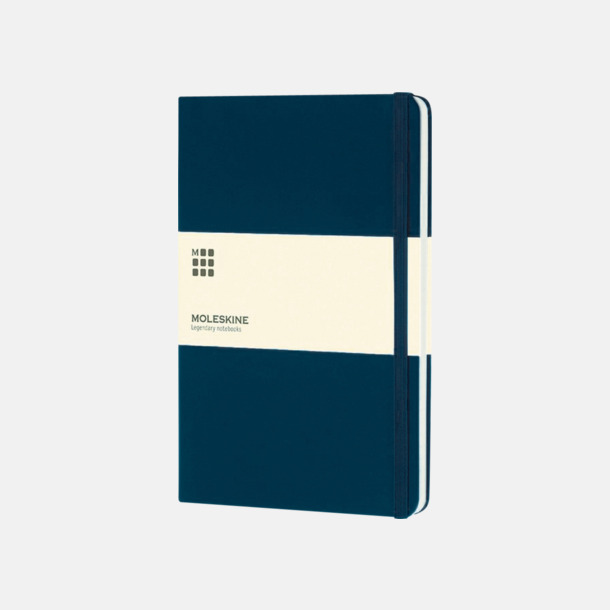 Mörkblå (large) Moleskine-böcker med blanka sidor och hårt omslag - med reklamtryck