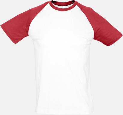 Vit/Röd (herr) T-shirts i herr- och dammodell med kontrasterande färg - med reklamtryck