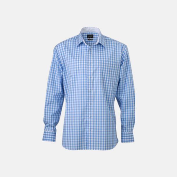 Glacier Blue/Vit (herr) Rutiga bomullsskjortor & -blusar med reklamtryck