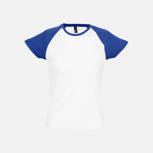 Vit/Royal Blue (dam) T-shirts i herr- och dammodell med kontrasterande färg - med reklamtryck