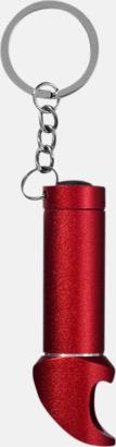 Röd Nyckelring, ficklampa och flasköppnare med reklamtryck