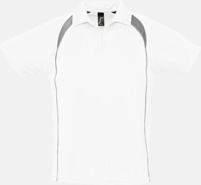 Vit/Mörkgrå (solid) Färgglada pikétröjor i funktionsmaterial med tryck