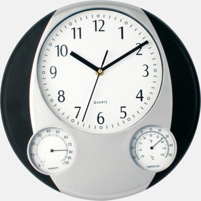 Silver / Svart Väggklocka och termometer med reklamtryck