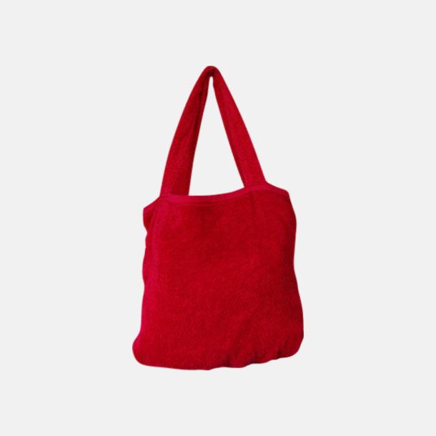 """Poppy Red Bomullsväskor av """"handduksfrotté"""" med bordyr"""