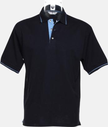 Marinblå/Ljusblå (herr) Tvåfärgade pikétröjor i herr- och dammodell med reklamtryck