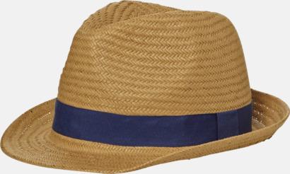 Caramel/Marinblå Stråinspirerade cityhattar med reklambrodyr