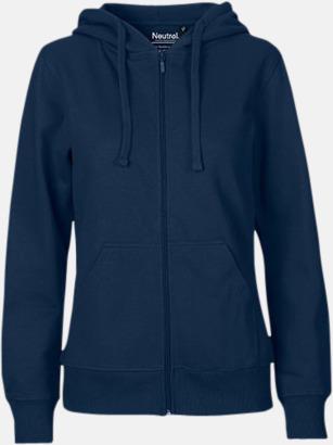 Marinblå (dam) Ekologiska huvtröjor med blixtlås i herr- & dammodell med reklamtryck