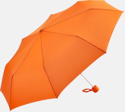 Orange Kompaktparaplyer i aluminium med tryck