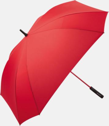 Röd Fyrkantiga paraplyer med färgade skaft - med reklamtryck