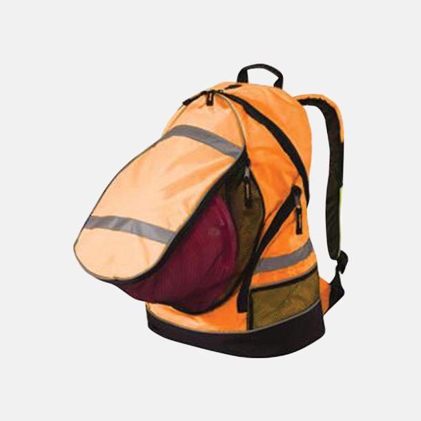 Hi-Vis Orange Ryggsäckar i reflexmaterial med tryck