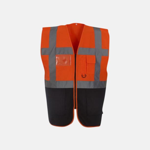 Hi-Vis Orange/Marinblå Varselvästar med 2-färgade modeller - med reklamtryck
