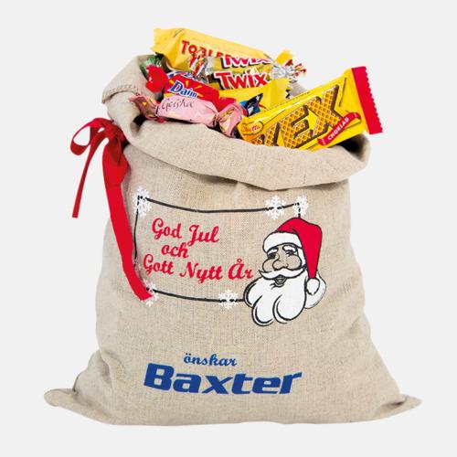 900 gram (med tryck) Julsäckar i 3 storlekar med godis