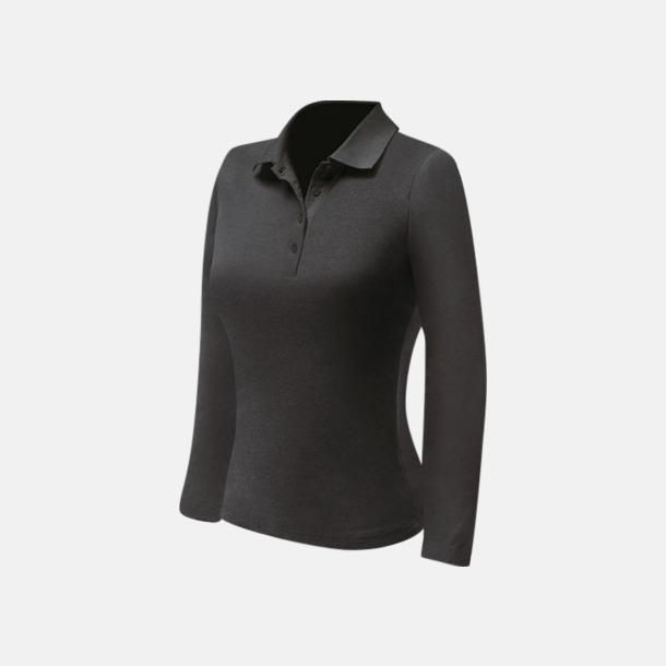 Svart (dam) Långärmade pikétröjor till lägre priser med reklamtryck