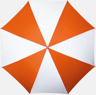 Orange / Vit Randigt paraply med ergonomiskt trähandtag