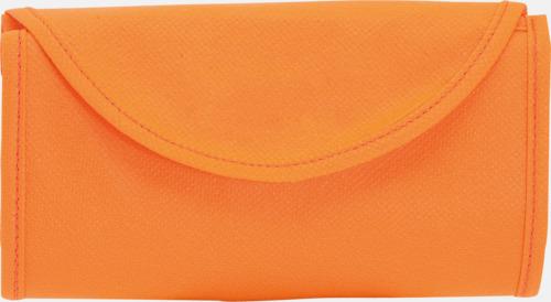 Orange Vikbara non-woven påsar med kardborrestängning - med reklamtryck