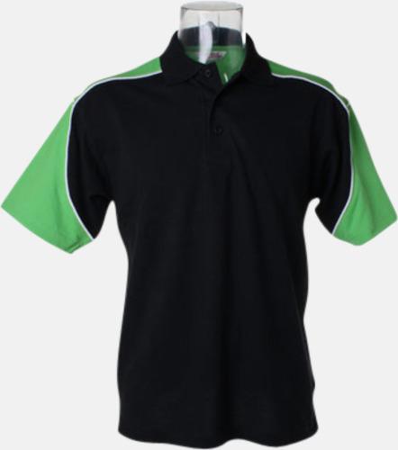 Svart/Limegrön/Vit Sportiga pikétröjor för i herrmodell - med reklamtryck eller -brodyr