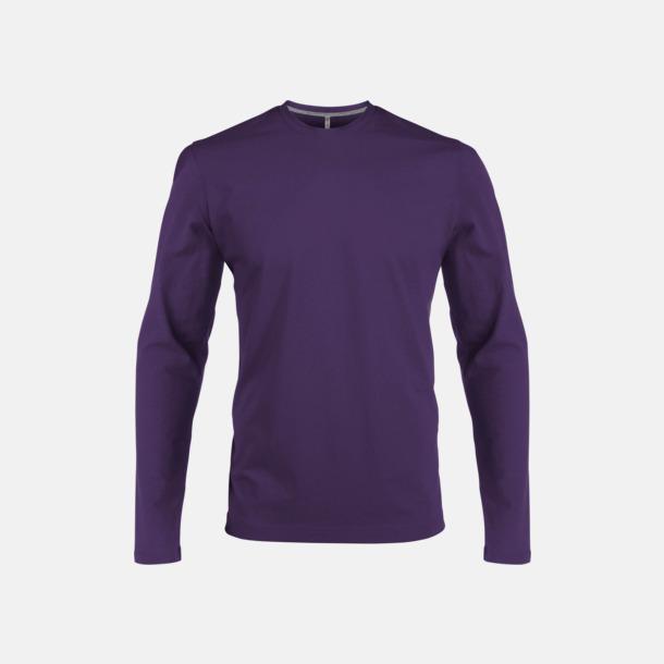 Lila (crewneck, herr) Långärmad t-tröja med rundhals för herr och dam med reklamtryck
