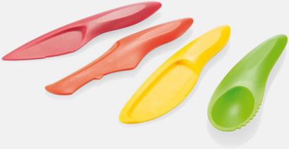 Set med 4 färgglada fruktknivar med reklamtryck