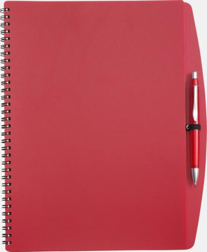 Röd A4-block med bläckpenna - med reklamtryck