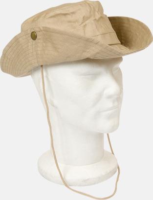 Khaki Safarihattar med snodd - med reklamtryck
