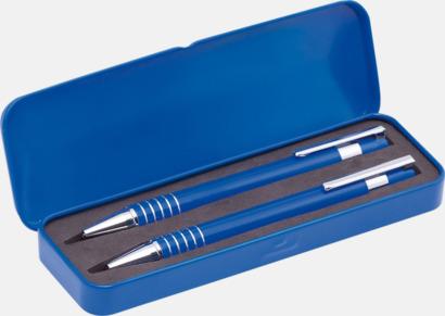 Blå Pennset med bläck- och blyertspenna i fodral