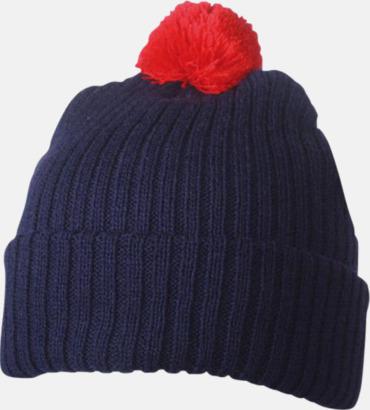 Marinblå / Röd Stickade toppmössor med reklambrodyr