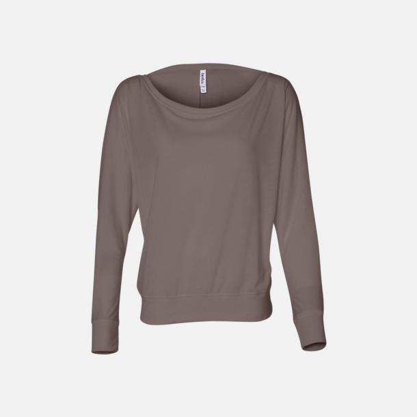 Pebble Brown Långärmade dam t-shirts med reklamtryck