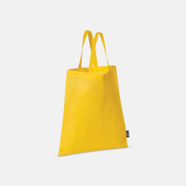 Gul (korta handtag) Billiga kassar med korta eller långa handtag - med reklamtryck