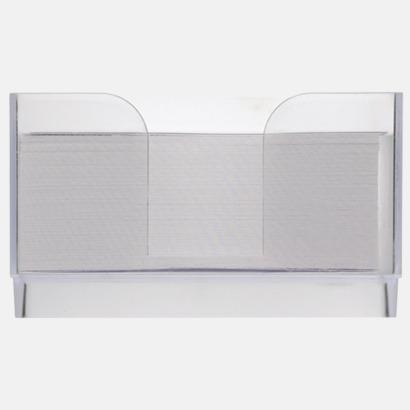 Framsida Plastkub med vita anteckningspapper - med reklamtryck