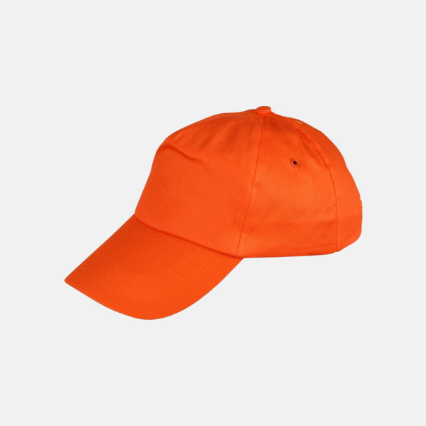 Orange Billiga bomullskepsar med reklamtryck