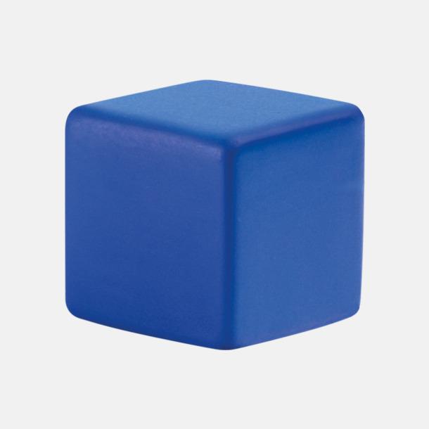 Blå Kubformade stressbollar med reklamtryck